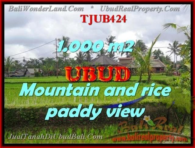 TANAH di UBUD BALI DIJUAL 1,000 m2  view sawah gunung dan tebing