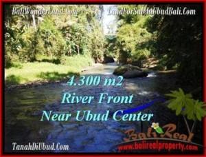 TANAH di UBUD JUAL 4,315 m2  View Sungai dan tebing