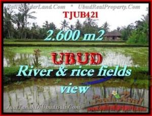 JUAL TANAH di UBUD BALI 2,600 m2  view sawah sungai dan tebing