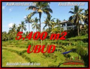 JUAL TANAH MURAH di UBUD 5,400 m2 View Sawah dan sungai lingkungan Villa